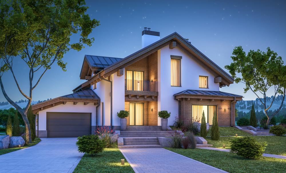 Garage und Haus harmonisch integriert